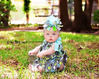 Brown Lime Aqua and Silver Over The Top Boutique Hair Bow on Matching Headband M2M Carters Free Shipping On All Addional Items