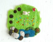 Needle Felted Playscape Toy, Felt Playscape, Waldorf Playscape, Felt Playmat, Easter Bunny, Soft Sculpture, Christmas gift