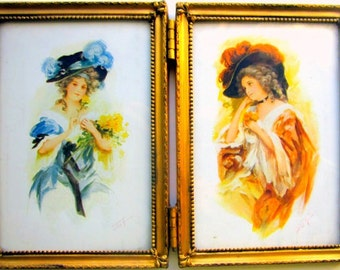 Vintage Double Frame with Victorian Lady Prints Picture Frames