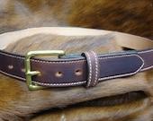 Laminated Leather Belt,Brown Veg-Tan, Wheat Stitching, Brass Roller Buckle(49)