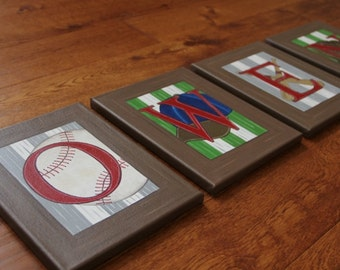 "8"" x 10"" Baseball Theme Custom Personalized Name Wall Sports Bats Glove Cap Canvas Art Boys Bedding Room Decor (price per letter)"
