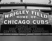 Chicago Cubs, Wrigley Field Sign: Black and White Photo
