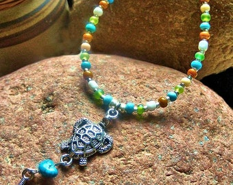 Turquoise and Green Turtle Pendant Necklace, Tribal Pendant, Minimalist Jewelry, Native Style, Turtle Necklace, Handcrafted Jewelry