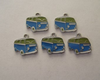 Green and Blue Enamel Bus Charms -five vw vans- silver charms