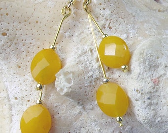 Yellow Jade faceted oval beads in a dangle earrings, summer colors