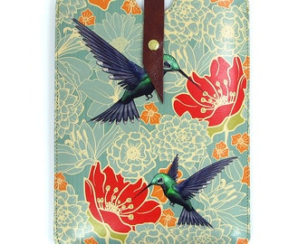 Leather iPad Mini Case / Tablet Case - Hummingbirds in Floral Bliss