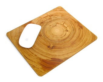 Leather Mousepad, Leather mousemat - Wood grain No.1