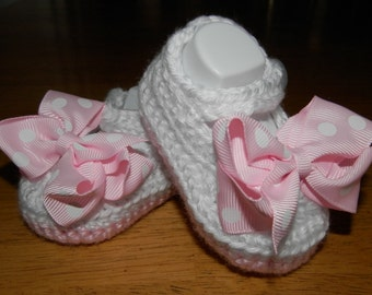 Cute mary janes crochet booties with bow in many colors