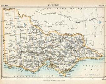 1884 Antique Map of Victoria, Australia - Antique Victoria Map - Victoria Antique Map - Antique Australia Map - Australia Antique Map