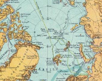 1940 Vintage Map of the Polar Regions - Spanish map