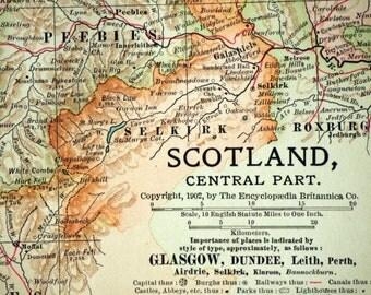 1903 Antique Map of the Central Part of Scotland - Scotland Antique Map
