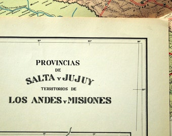 1938 Rare Poster-sized Limited Edition Vintage Map of Salta, Jujuy, Los Andes, and Misiones, Argentina