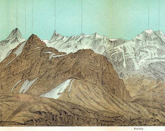 Antique Print of the Faulhorn, Switzerland - 1891 Panorama of the Bernese Alps - Long Vintage Print - Home Decor - Panoramic View