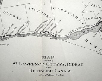 1907 Antique Map Showing the Saint Lawrence, Ottawa, Rideau, and Richelieu Canals - Antique Canals Map - Map No. 10