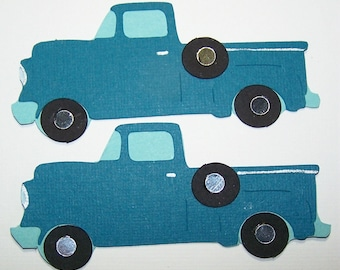 Truck, Pickup Truck, Vehicle, Automobile, Farm Vehicle, Blue, Tires, Driving, Ranch, Masculine, Ford, Chevy, Dodge, Paper Piecing, Scrapbook
