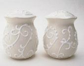 Salt and Pepper Shakers- White on White