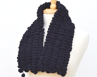 Short Black Scarf..Fluffy Knit Neckwarmer..Pom Pom Scarf