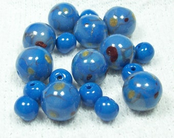 Polymer Clay Handmade Bead Set in Blue and Metallics