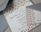 Intricate Ikat Eco-Friendly Wedding Invitation Suite Sample