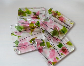Tea in the Rose Garden Fused Glass Coasters