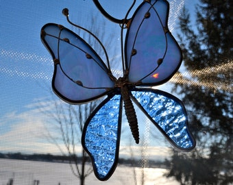 Spring Skies Stained Glass Butterfly Stained Glass Suncatcher