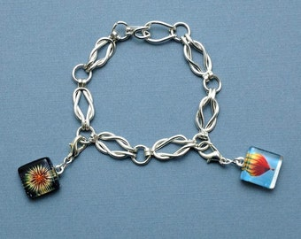 Lovers Knot Silver Filled Charm Bracelet with Two Custom Photo Charms