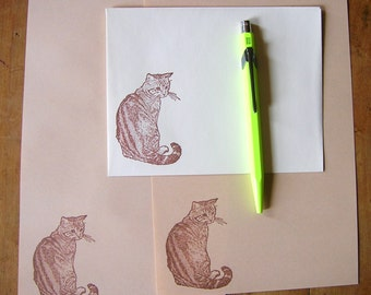 cat stationery letter set on color paper for writing your feline-loving pen pal -custom set - your choice of cat - your choice of color