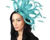 Persian Turquoise  Fascinator Hat for Weddings, Races, and Special Events With Headband