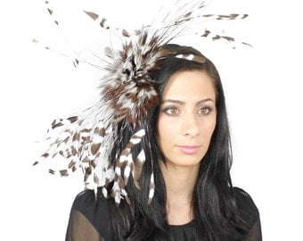 Brown and Ivory Fascinator Kentucky Derby or Wedding Hat on a Headband