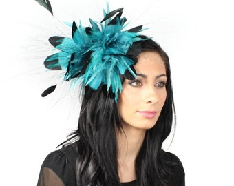 Black and Turquoise Fascinator Kentucky Derby or Wedding Hat on a Headband