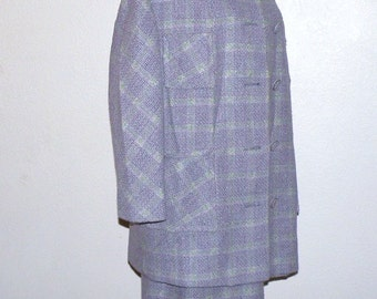 Pastel Lavender Plaid Skirt and Matching Duster Size M