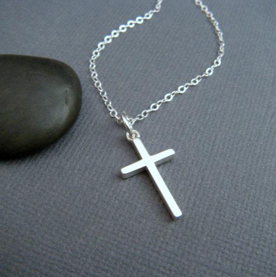 silver cross necklace. MEDIUM. sterling silver cross pendant.