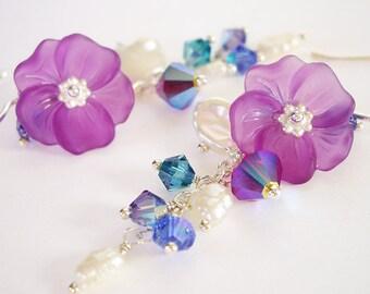 Hibiscus Paradise - Earrings / Sterling Silver, Lucite Flower, Swarovski Crystal, Freshwater Pearl, Hibiscus, Purple, Wedding, Hawaii