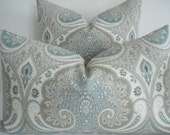 Kravet - Decorative Pillow Cover-LATIKA- Seafoam- Greys, Taupey Tan, Seafoam- Grey  Blue , Off White Throw/Lumbar Pillow