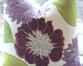 Richloom -Emily--Decorative Pillow Cover--Designer Fabric -Purple /Chartreuse--Purple Throw / Lumbar Pillow-