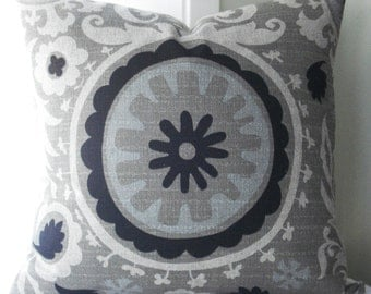 SPECIAL- 3      24x24     Suzani Decorative Designer Pillow Covers .....Taupe/Black/neutral/grey blue