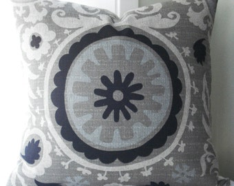 SPECIAL- 3   24x24  BOTH SIDES   Suzani Decorative Designer Pillow Covers .....Taupe/Black/neutral/grey blue