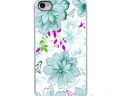 On Sale! Flower Bird Teal Pink - White, Black, Clear Sides iPhone Samsung Galaxy Case - IPhone 4, 4S, 5, 5S, 5C Hard Cover - artstudio54