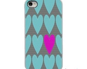 On Sale! Teal Pink Gray Hearts  - White, Black, Clear Sides iPhone Case - IPhone 4, 4S, 5, 5S, 5C Hard Cover - Art Case - artstudio54