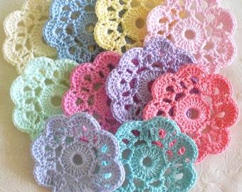 Crochet Applique Flowers, Mini Doilies -  set of 10 Pastel Colors
