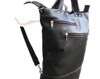 Black leather backpack purse mid sized slouchy leather bag