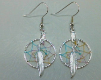 Softly Spoken 20MM Pastel Dream Catcher Earrings Native American Made