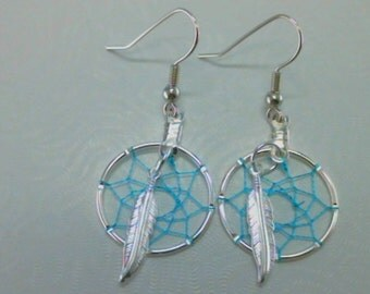 Peaceful Pipes 20 MM Turquoise Dream Catcher Earrings