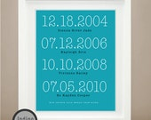Custom Special Dates Print,  Anniversary Present, Dates to Remember, Subway Art, Birth Gift 8X10 Personalized Wedding, Gift For him or her