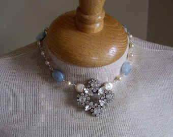 Vintage Assemblage Rhinestone Dress Clip Aquamarine Pearls Sterling Silver Necklace