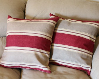 One 18 inch Country Club Striped Decorative Throw Pillow Cover by Waverly in Rusty Red and Taupe, B4-1