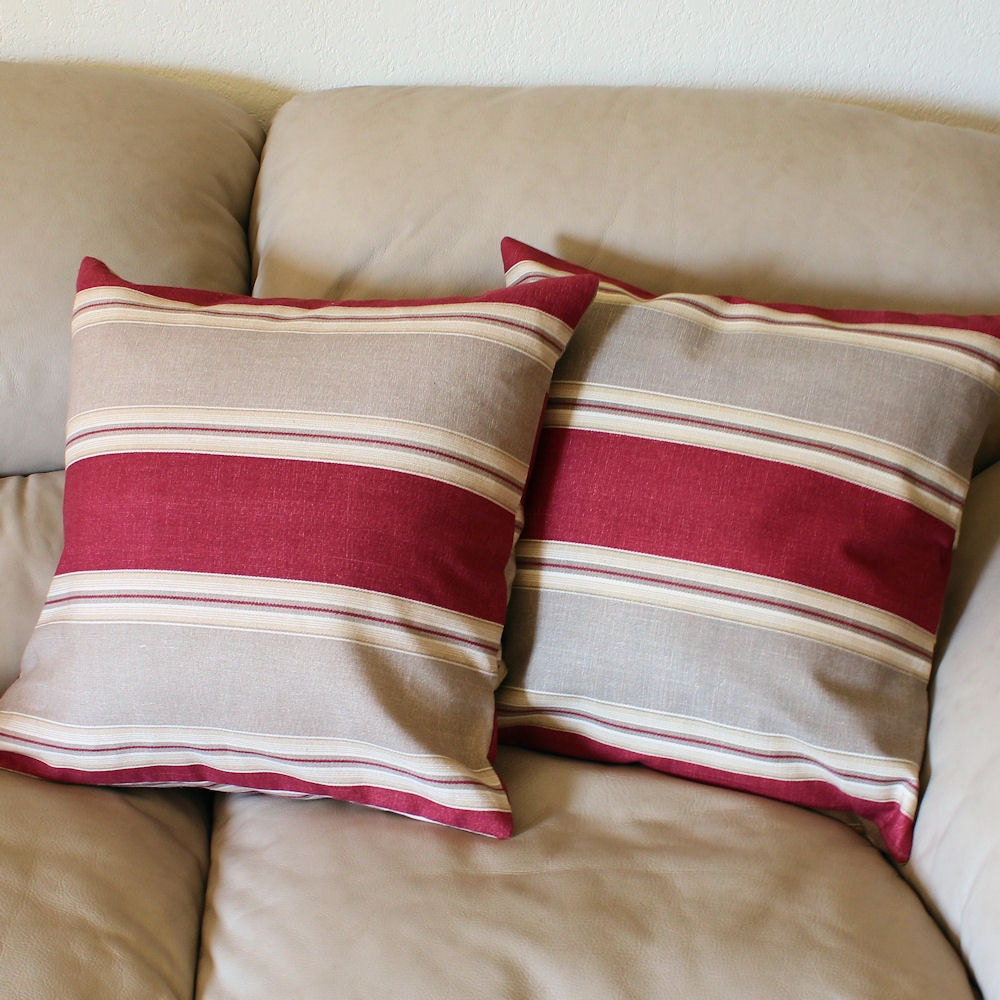 Barn Red and Tan Striped Decorative Throw Pillow Cover 18