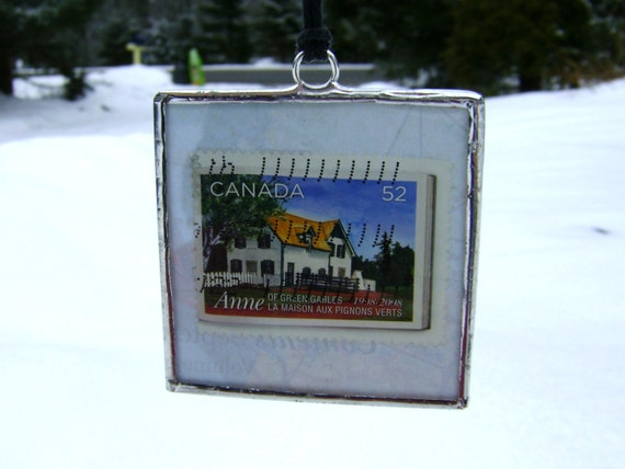 SALE Anne of Green Gables Prince Edward Island Postage Stamp Glass Christmas Ornament Canada Travel History PEI Birthday Gift OOAK