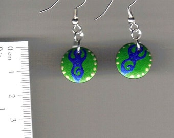 handpainted wooden earrings- goddess- green and blue