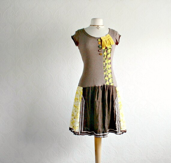 Brown Boho Dress Yellow Floral Upcycled By BrokenGhostClothing